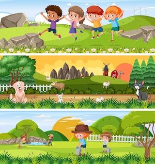 Différents paysages naturels panoramiques avec personnage de dessin animé