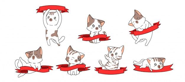 Différents personnages de chats kawaii et bannière rouge