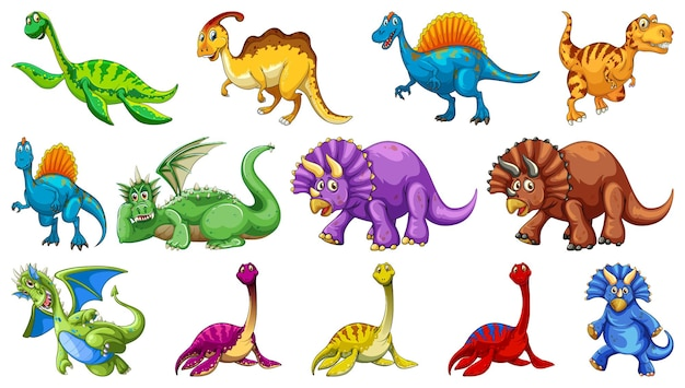 Différents personnages de dessins animés de dinosaures et dragons fantastiques isolés