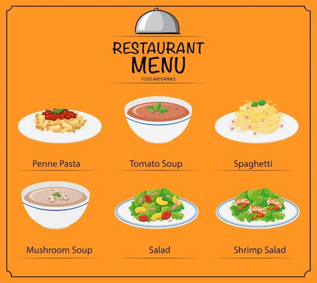 Différents plats au menu