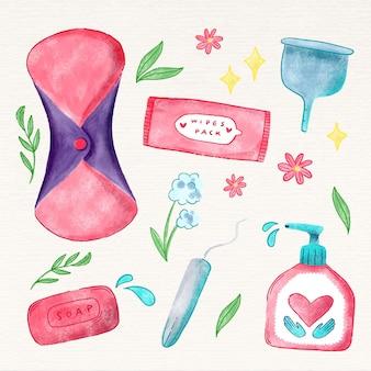 Différents produits d'hygiène féminine
