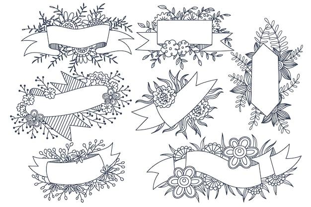 Différents Styles De Cadres De Fleurs Vecteur Premium
