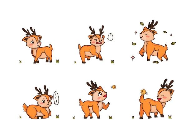 Différents styles de cerfs sur un transparent