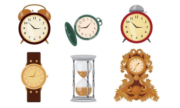 Différents styles d'horloges, de montres et d'illustration vectorielle de sablier