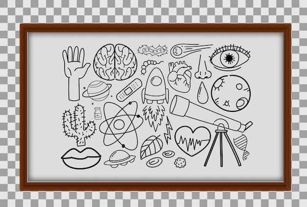 Différents traits de doodle sur l'équipement scientifique dans un cadre en bois sur fond transparent