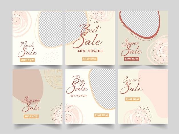 Différents types d'affiches de vente ou de modèles de conception avec la meilleure offre de remise et l'espace de copie.