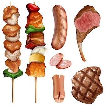 Différents types de bbq et steaks