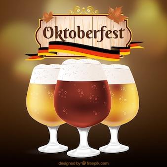 Différents types de bière dans l'oktoberfest