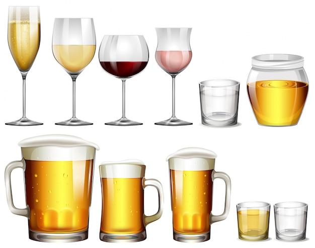 Différents types de boissons alcoolisées