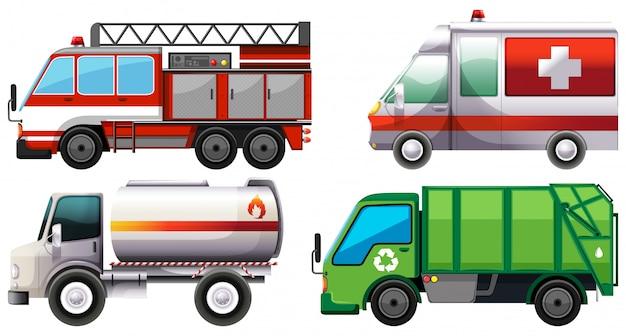 Différents types de camions de service