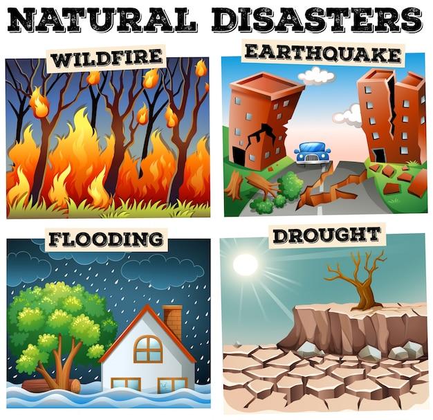 Différents types de catastrophes naturelles