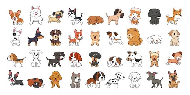 Différents types de chiens de dessin animé de vecteur