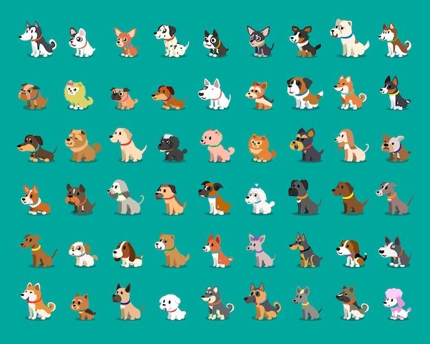 Différents types de chiens de dessin animé