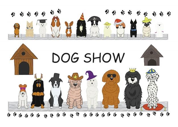 Différents types de chiens de dessin animé.