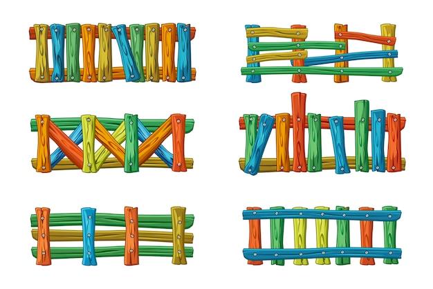 Différents types et couleurs de clôture en bois, dessin animé