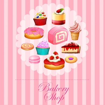 Différents types de desserts en rose
