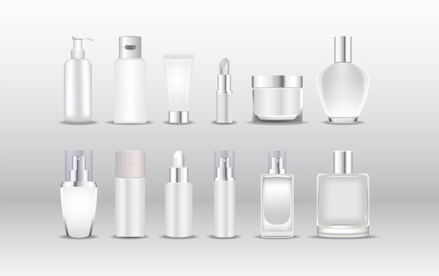 Différents types d'emballages cosmétiques blancs