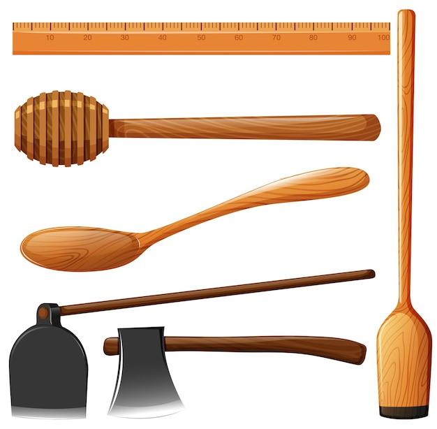 Différents types d'équipements en bois