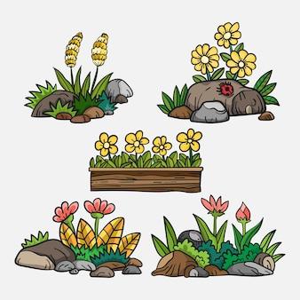 Différents types de fleurs et de pierre en illustration de buisson