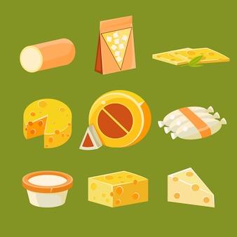 Différents types de fromage, ensemble d'illustration plat