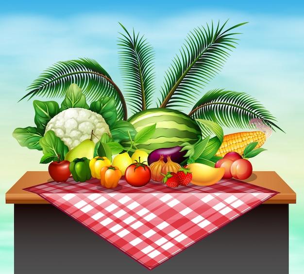 Différents types de fruits et légumes