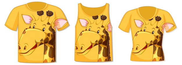 Différents types de hauts avec motif girafe