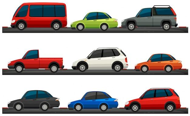 Différents types d'illustration de voitures