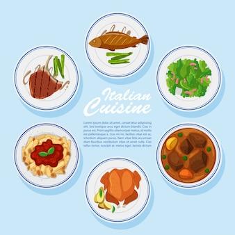 Différents types de nourriture au menu
