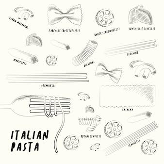 Différents types de pâtes italiennes.