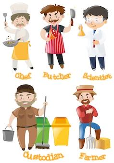 Différents types de professions