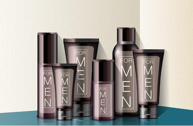 Différents types réalistes de cosmétiques pour hommes