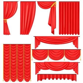 Différents types de rideaux de scène et de rideaux de théâtre en collection de velours rouge