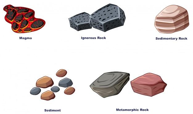 Différents types de roches sur fond blanc