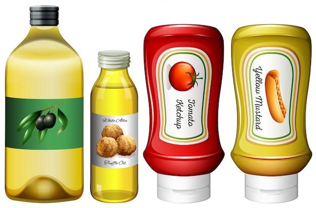 Différents types de sauces et de l'huile