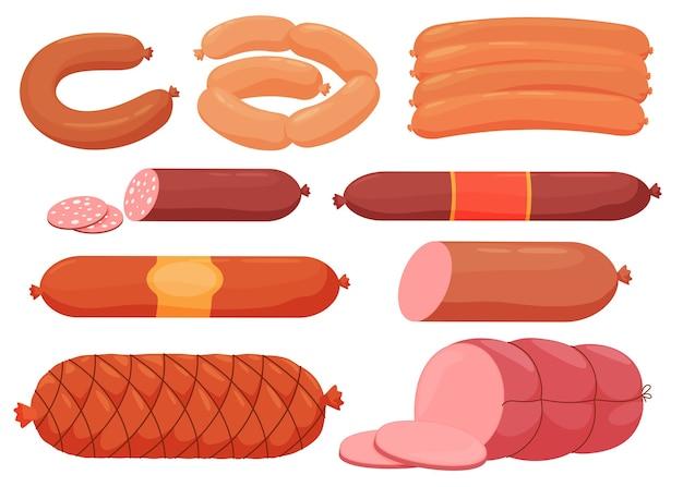 Différents types de saucisses, saucisses en tranches, médecin.