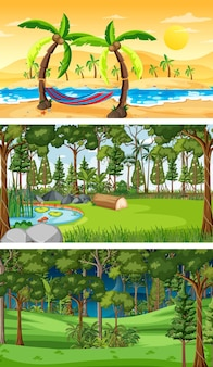 Différents types de scènes horizontales de forêt