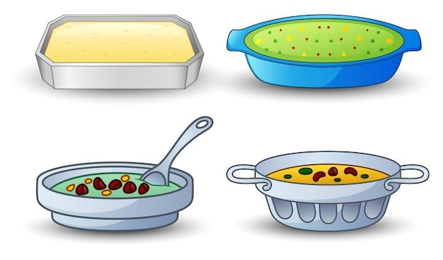 Différents types de soupe isolé sur fond blanc
