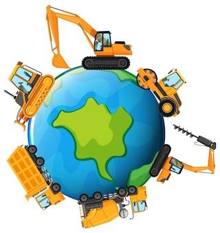 Différents types de tracteurs sur l'illustration de la terre