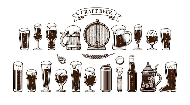 Différents types de verres à bière, tasses et autres objets utilisés dans la production de bière