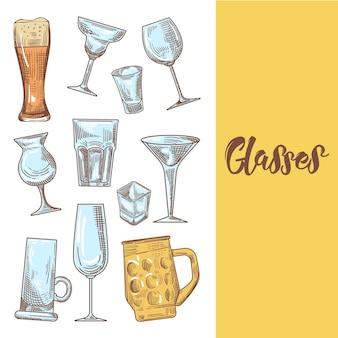 Différents verres à boisson