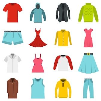 Différents vêtements mis icônes plats