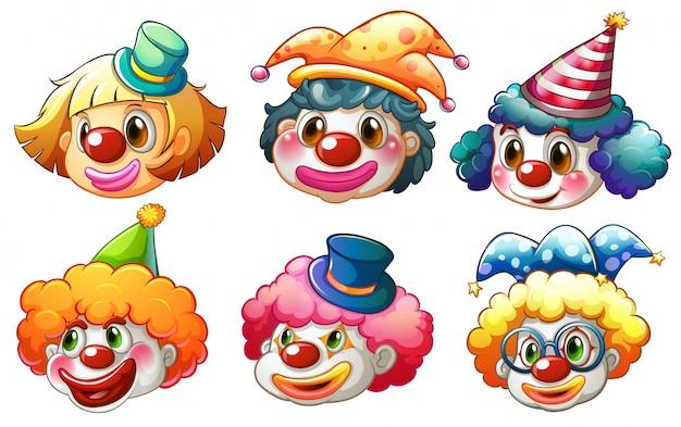 Différents visages d'un clown