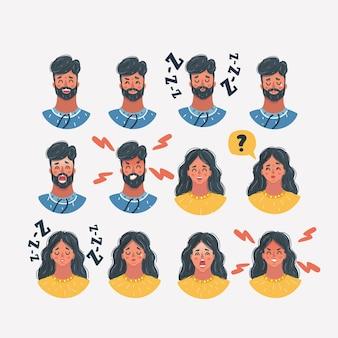 Différents visages d'icônes masculines et féminines