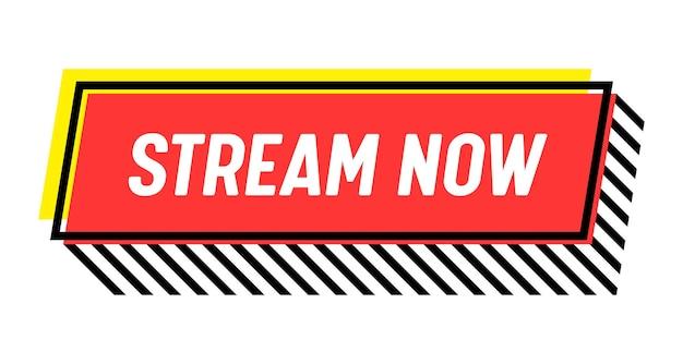 Diffusez maintenant, bannière de diffusion en direct. diffusion d'actualités vidéo, emblème d'écran de flux de télévision. chaîne en ligne, autocollant d'événement en direct, icône ou concept de diffusion isolé sur fond blanc. étiquette de vecteur linéaire