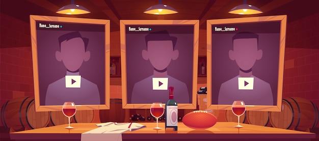 Diffusion en direct avec interface windows lecteur multimédia en ligne, cave à vin, ballon de rugby sur table. chaîne de médias sociaux, blog vidéo diffusant en direct, illustration vectorielle de dessin animé