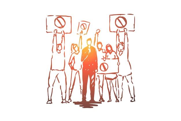 Diffusion en direct de troubles civils, journaliste de télévision, correspondant tenant une illustration de microphone