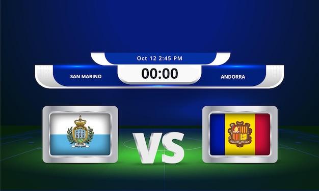 Diffusion du tableau de bord de la coupe du monde de football 2022 saint-marin contre andorre