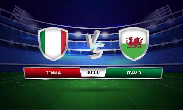 Diffusion du tableau de bord du match de football du pays de galles contre l'italie