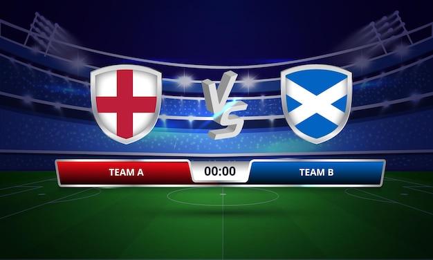 Diffusion du tableau de bord du match de football entre l'angleterre et l'écosse