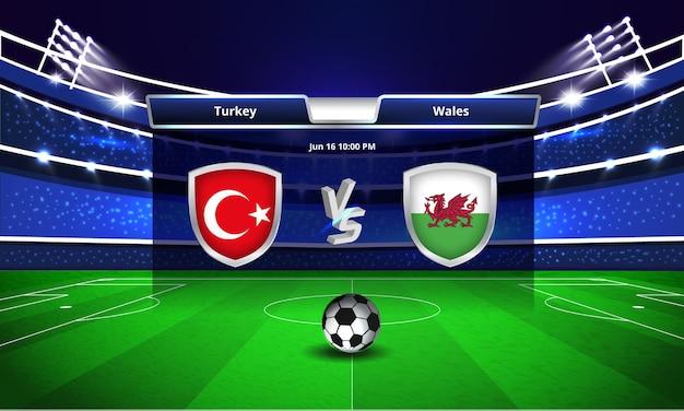 Diffusion du tableau de bord du match de football de la turquie contre le pays de galles